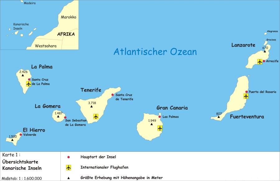 Lage der Kanarischen Inseln