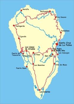 Karte der Insel La Palma