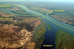 Zambezi River borders of Namibia, Zambia, Zimbabwe & Botswana