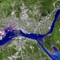 Satellite image of the St. Marys River - in Michigan (U.S.) and Ontario (Canada)