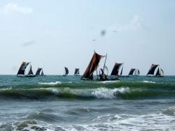 Boats near Negombo beach, Sri Lanka